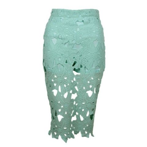 Mint Green Lacey Midi Skirt now available at Ruby Liu! ♥ http://rubyliuboutique.com/collections/lace