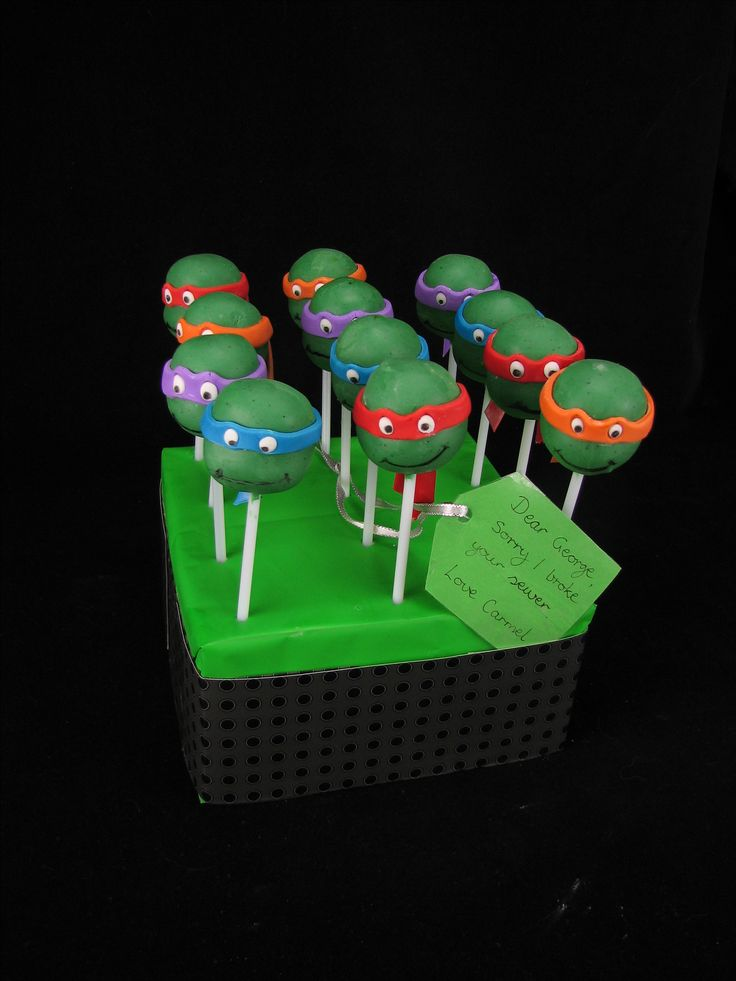 Ninja turtle cake pops as an apology for a broken sewer :)