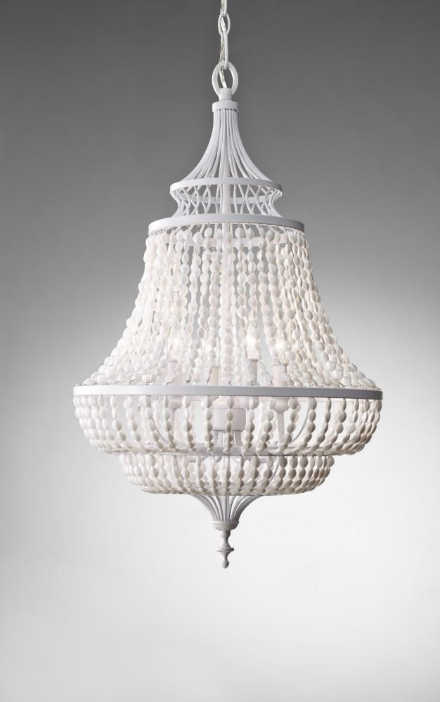 This Four Light Rock Crystal Up Chandelier In A White Semi Gloss Finish Is