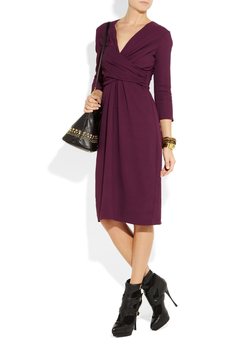 Burberry London|Stretch-crepe jersey wrap-effect dress$895