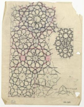 Aleppo (Syria): Lower Maqam Ibrahim Mosque: star and polygon pattern from a doorframe :: The Ernst Herzfeld Papers