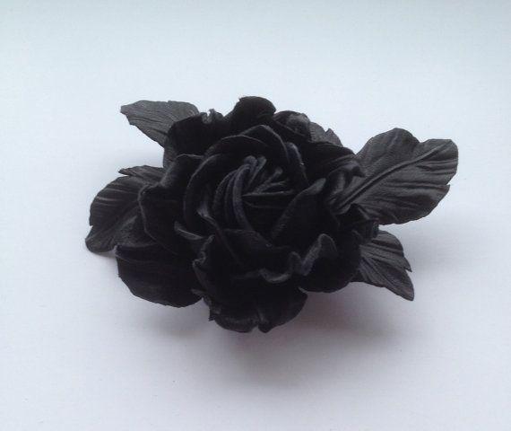 Nero spilla fiore leather fiore fatto a mano in pelle fiore