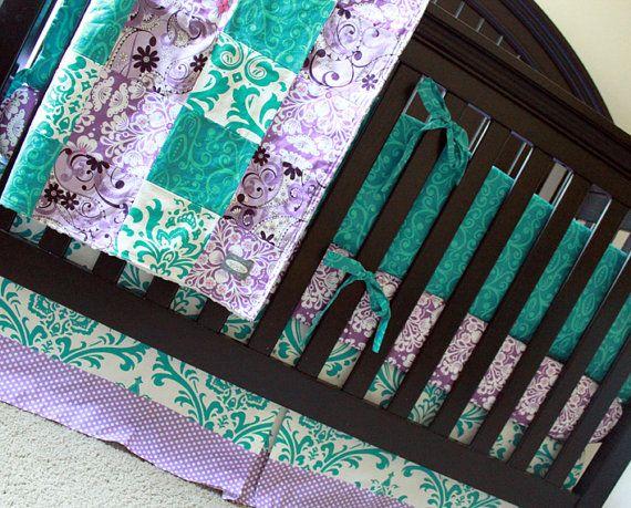 Custom Crib Bedding Purple Grey And Aqua 2 By