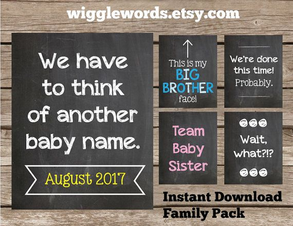 Large Family Pregnancy Announcement Pack for Photos by WiggleWords