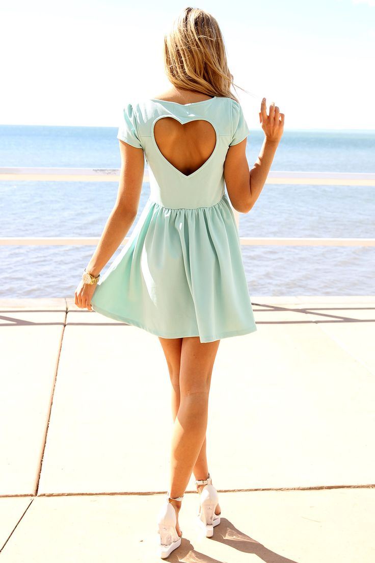 heart back dresses | Mint Heart Cutout Back Dress with Cap Sleeves&Gathered Waist, Dress ...