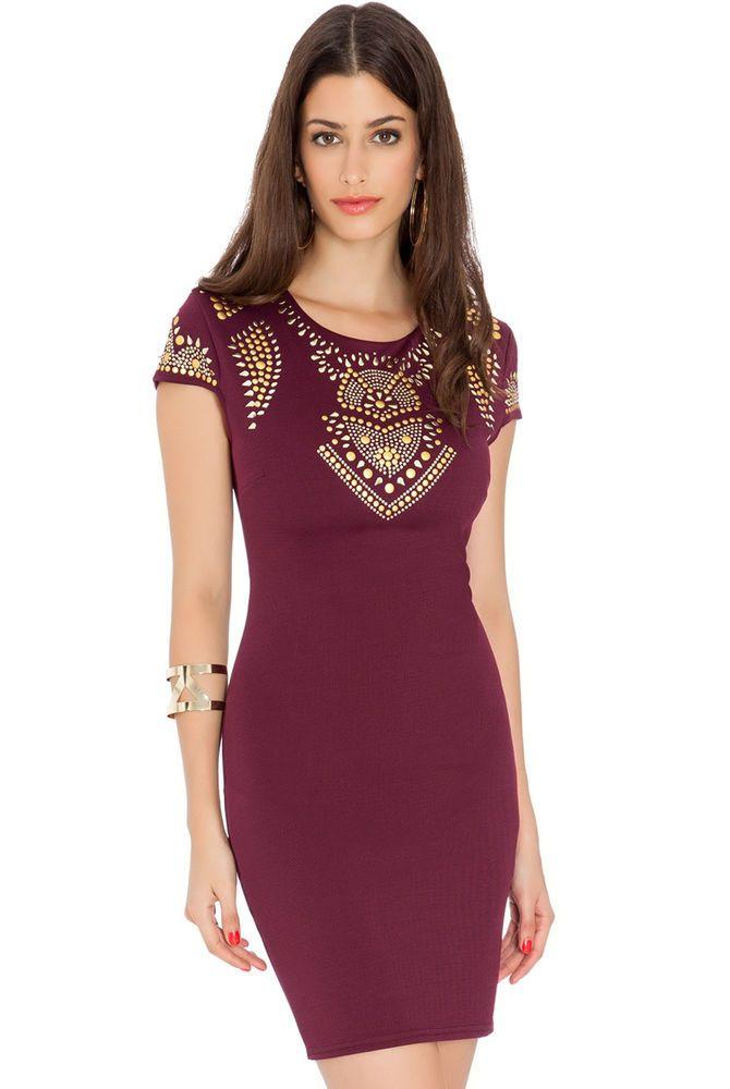 wine colour studded celebrity style dress.BNWT.size 12. Kylie Jenner Look | eBay
