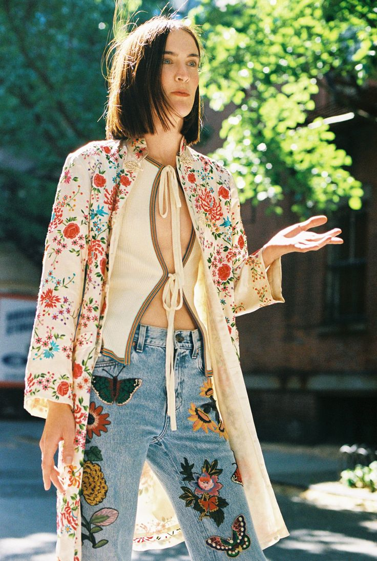 Jane Moseley in a vintage kimono, vintage tie top, and Gucci hand-embroidered…
