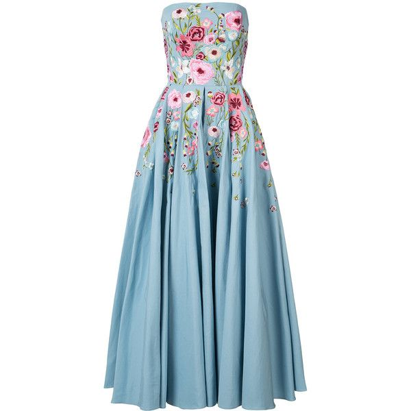 Marchesa Notte floral embroidered dress (3.160 BRL) ❤ liked on Polyvore featuring dresses, marchesa, blue, blue dress, notte by marchesa, powder blue dress, flower embroidered dress and notte by marchesa dresses