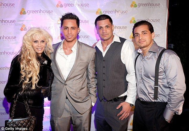 Reality stars: Victoria Gotti and her three sons (left to right) Frank Gotti Agnello, John Gotti Agnello and Carmine Agnello Jr. appeared on the A & E reality show 'Growing Up Gotti'