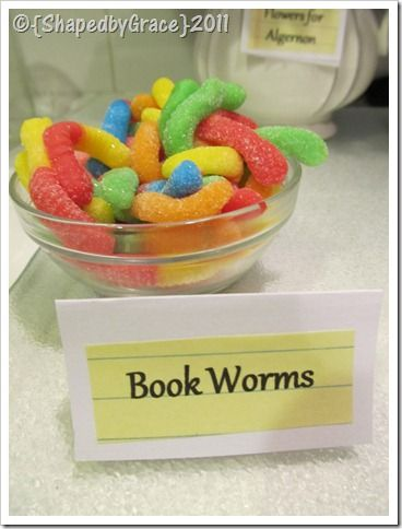 Book Club Party: Cute food ideas here and this Bookworms idea would make a really cute favor idea too