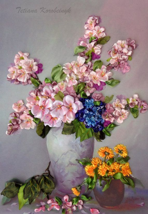 """Vase with the springs flowers """", Silk ribbon embroidery 3D effect"""