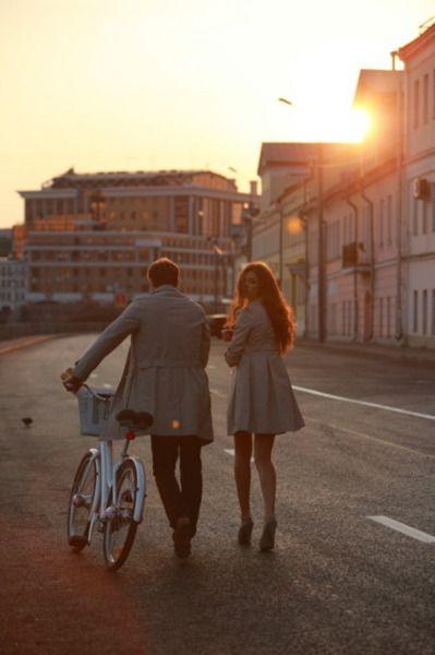 couple, bike, sunset, fashion, photography