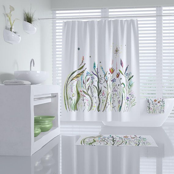 Floral Shower Curtain White With Flowers Fabric Beautiful