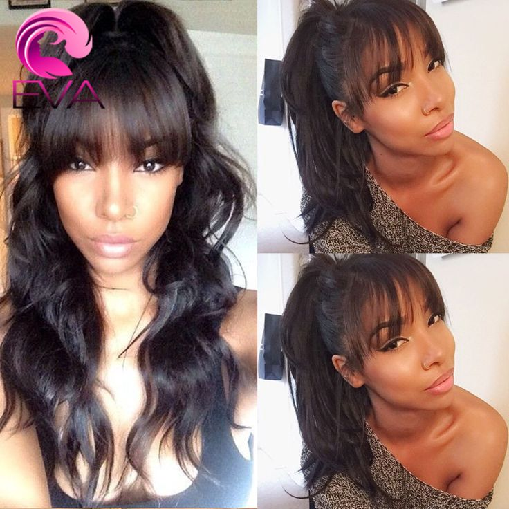 ... Wave Lace Front Wig Glueless Lace Wig With Full Bangs For Black Women