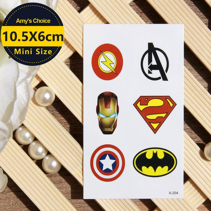 Waterproof Temporary Tattoo Sticker super man captain American cartoon tattoo Water Transfer Flash Tattoo fake tattoo for kids