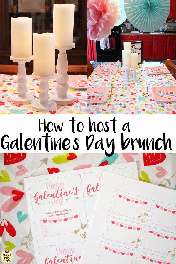 How to host a Galentine's Day brunch (sponsored by Oriental Trading) || Friends. Waffles. Work. Celebrate your best gal pals with a simple party setup. Includes tableware, menu and printables. #Galentines #Valentines #party