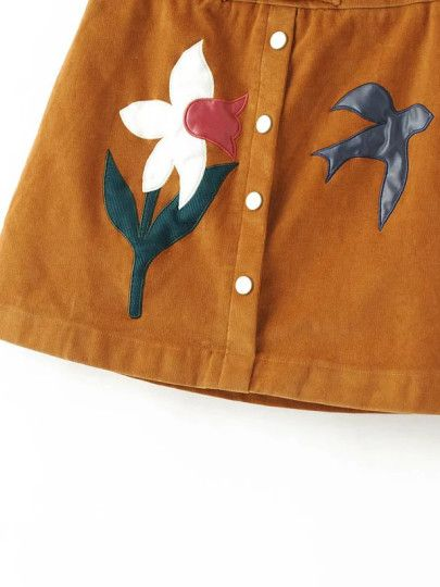 Khaki Flower Embroidery Corduroy Button Skirt With Buckle