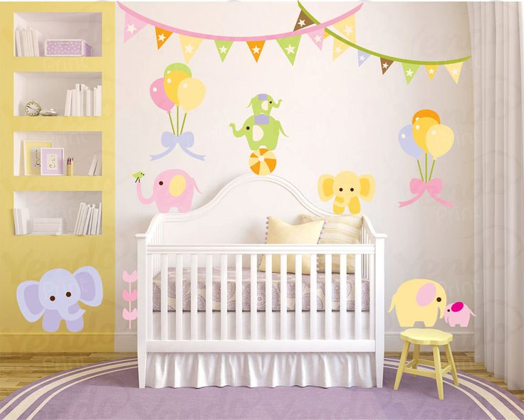 Wall Decals for Childrens Bedroom - Elephant Circus Animals - Complete  Repositionable Decal Set High Quality by YendoPrint on Etsy https://www.etsy.com/listing/161818118/wall-decals-for-childrens-bedroom