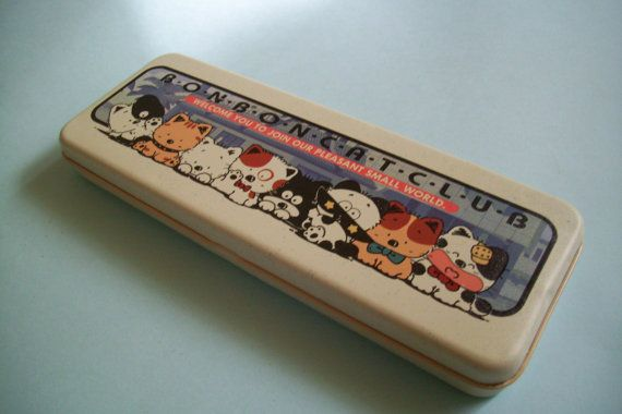 Bon Bon Cat Pencil Box 80s Kawaii Pencil Case Back by JirjiMirji, €32.90