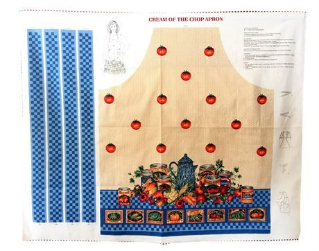 Cream of the Crop Apron Fabric Panel   Cut  Sew  instructions are printed on the fabric   Joan Messmore  VIP Cranston   100% Cotton   Ladies Apron  ties in the back and at the neck    Panel measures approximately 44  wide by 32    This fabric panel will give you hours of sewing enjoyment while creating a fun apron perfect for canning and other kitchen chores.    This item is packed carefully and shipped to your home with insurance.