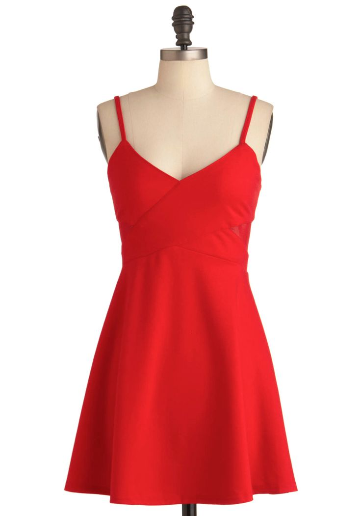 Fun in the Crimson Dress - Short, Red, Solid, Cutout, Exposed zipper, Spaghetti Straps, Party, Urban, A-line, Sheer, Collared, Top Rated