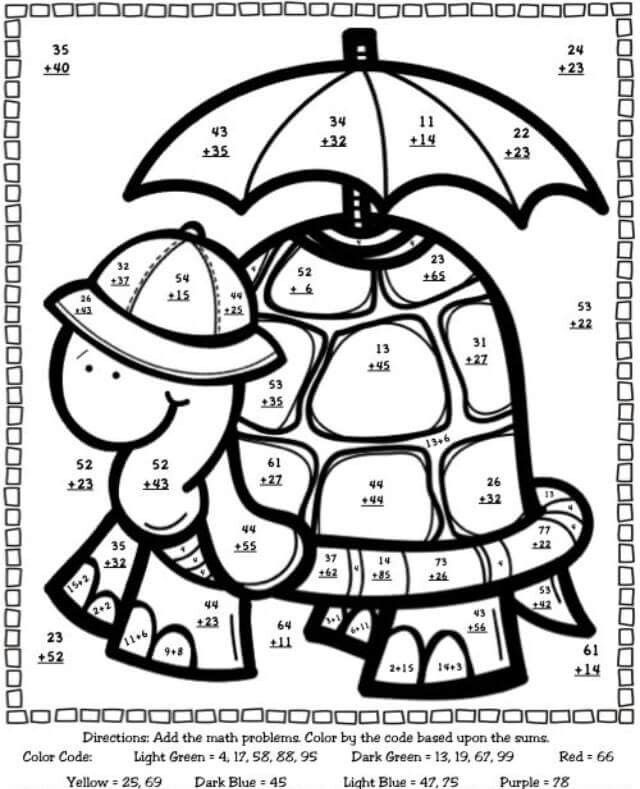 54 Best Coloring Pages Color By Code Images On Pinterest