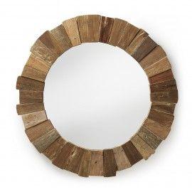 Spiegel - Nedmac - Teak houten frame - LaForma-KaveDeze ronde teak houten designspiegel is een aanwinst voor uw badkamer, eetkamer of woonkamer! Speels design en functioneel!