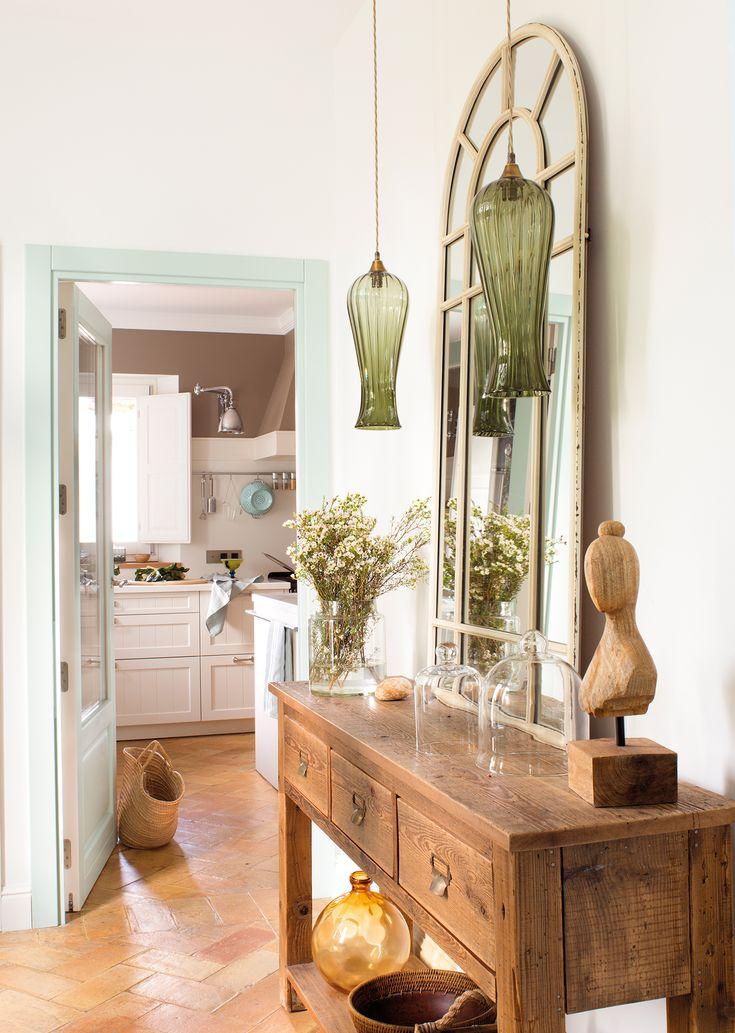 Recibidor con consola, espejo y lámparas verdes de cristal_ 00454982