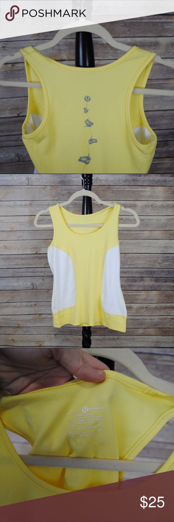 Lululemon Butterfly Yellow Tank Top Vintage Canadian Lululemon. Perfect gently used shape. lululemon athletica Tops Tank Tops