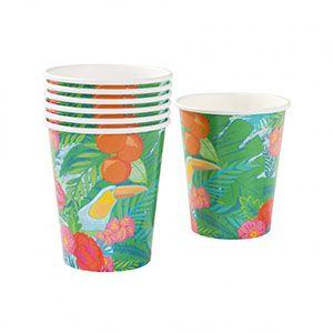 Tropikal Desenli Kağıt Bardak Seti - Doğum Günü Süsleri | Nice Yaşlara