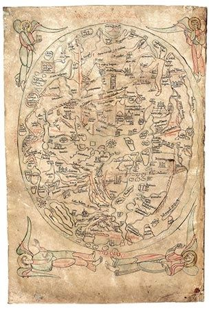 The Cosmological Map or Sawley Map from Imago mundi.  Made in Durham, England, it shows an ovoid Earth, with its borders extending as far as Great Britain to the east and Constantinople to the west, with Jerusalem and Rome somewhere in the middle.12th century cartography.
