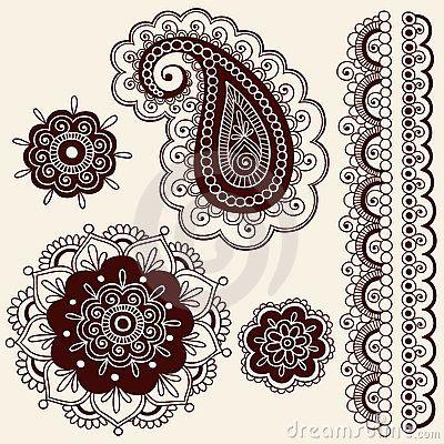 Hennastrauch Mehndi Blumen und Paisley-Vektor