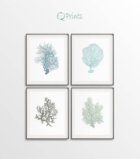 Nautical Prints Triptych of Corals Digital Nautical Art