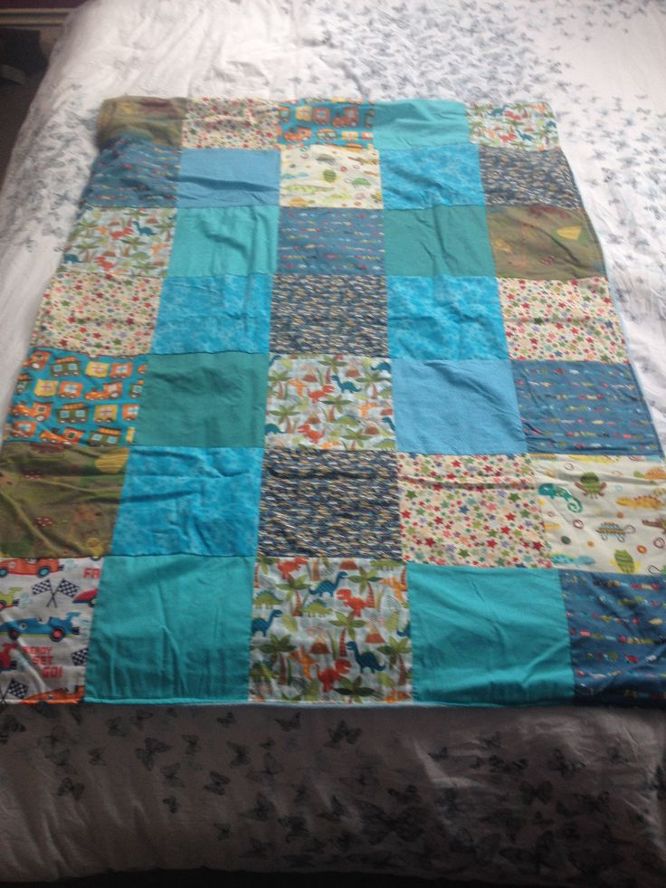 Boys patchwork blanket I made.
