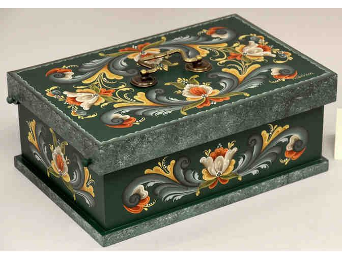 Basswood box with Rogaland Rosemaling by Ruth Green and made by Dennis Green