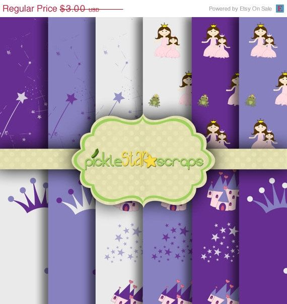 ON SALE Pretty Princess Purple  12 Digital by PickleStarScraps