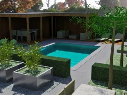 Overdekt terras en zwembad veranda en tuin inspiratie pinterest verandas - Terras teak zwembad ...