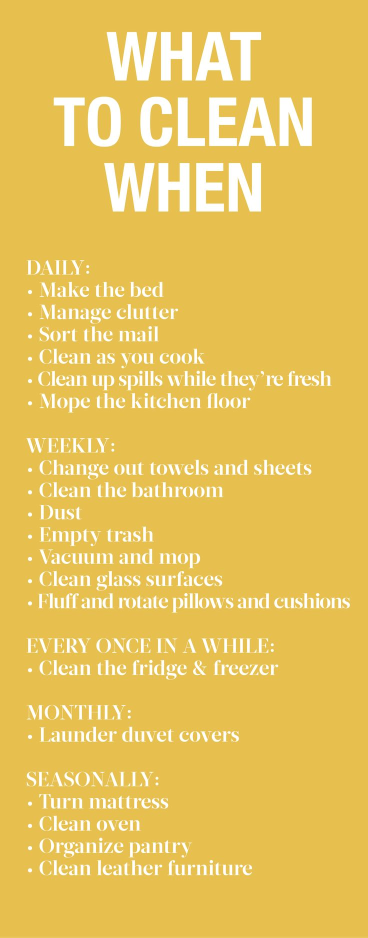 The Golden Rules of Cleaning: What You Should Be Cleaning When | Martha Stewart Living - The easiest habits to keep are the ones that are automatic, which is why we're big fans of the cleaning checklist. Never waste time contemplating where to start or be caught off guard by a task that should have been done months ago. Our printable checklists will tell you what you should be doing every day, week, month, season -- or every once in a while -- to keep your home shipshape year round.