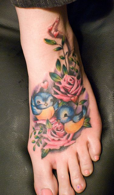 Vintage inspired bluebirds foot tattoo.