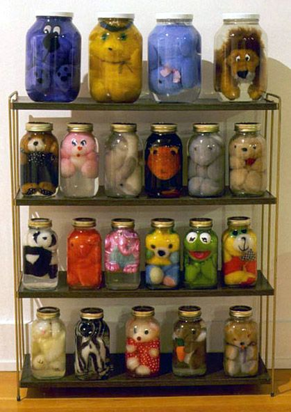 Kids have too many stuffed animals⇨ make this creepy cool mad science shelf.