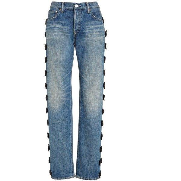 Tu es mon TRÉSOR Grosgrain Bow Embellished Jeans (5,805 CNY) ❤ liked on Polyvore featuring jeans, blue jeans, star print jeans, bow jeans, slouchy jeans and saggy jeans