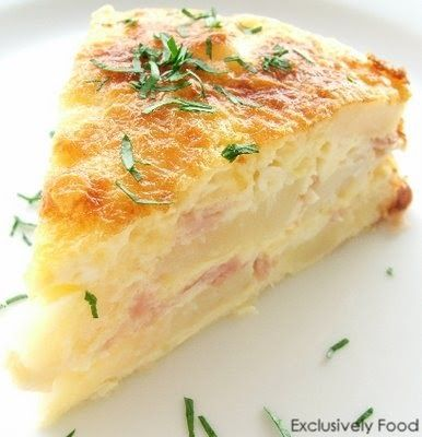 Layers of potato, ham and cheese are bound together by a quiche-like egg and cream mixture. This potato bake cuts well and can be served ho...