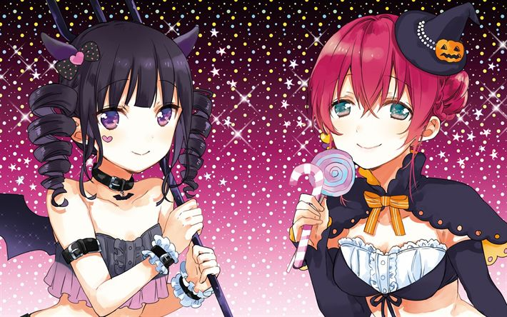 Download wallpapers Miyuki Nakayama, Blend S, halloween, Maika Sakuranomiya, Miu Amano, Japanese anime