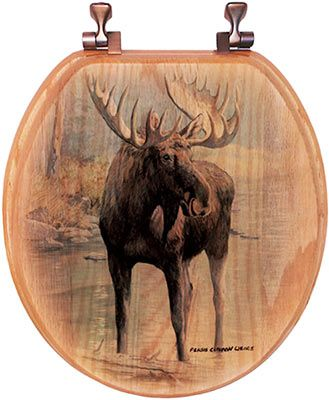Our majestic moose is content in the quiet refuge of this forested pond. The moose image will create a beautiful, rustic theme in your bathroom. This rustic toilet seat is made of a beautiful red oak from Alabama.