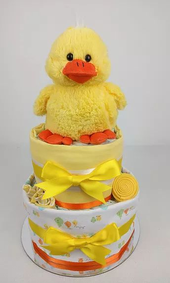 Neutral Nappy Cake - Duck Nappy Cake, Two Tier, Yellow and Orange, Nappy Cakes by Emma, Diaper Cake