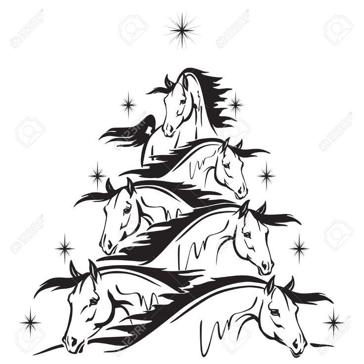 Christmas tree of horses heads royalty free cliparts for Christmas tree made out of horseshoes