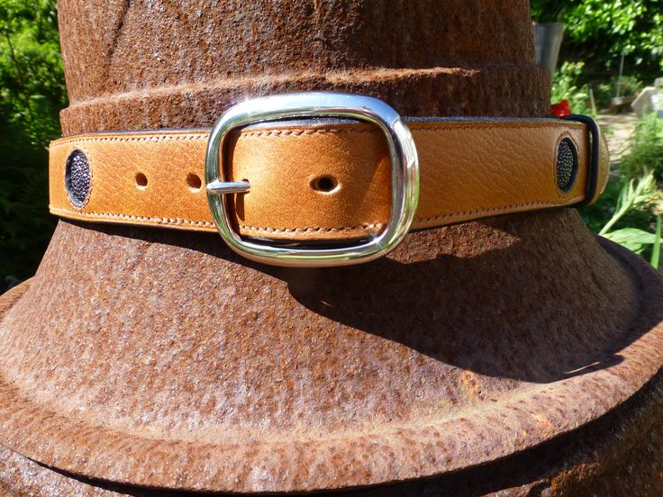 """Leather belt with black stingray dots. I had it made in """"leather Goods"""" Hundested, Denmark."""