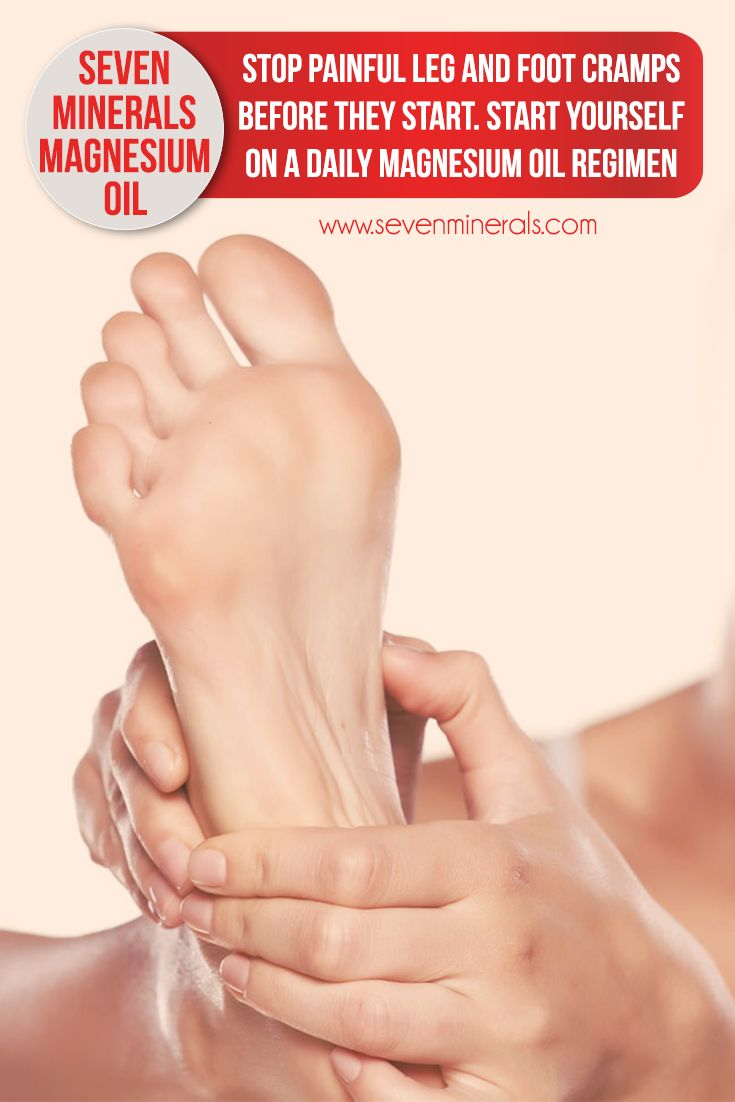 Stop painful leg and foot cramps before they start. To prevent them, start yourself on a daily magnesium oil regimen by applying Seven Minerals Magnesium Oil to the areas where cramps usually strike. Follow this tip to stay ahead of the pain and make life easier on yourself.   #magnesiumoil  | magnesium oil | | magnesium oil benefits | | magnesium oil spray |  https://www.sevenminerals.com/