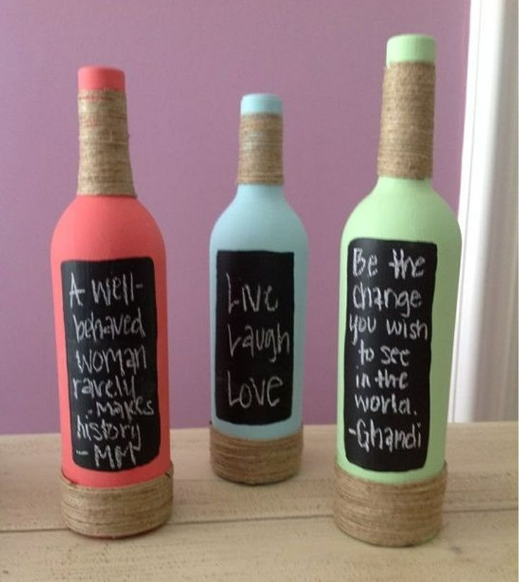Painted bottles and blackboard paint!