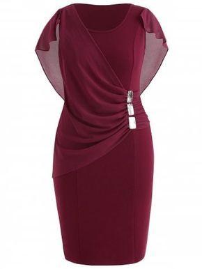 Plus Size Strass verziert Capelet Kleid